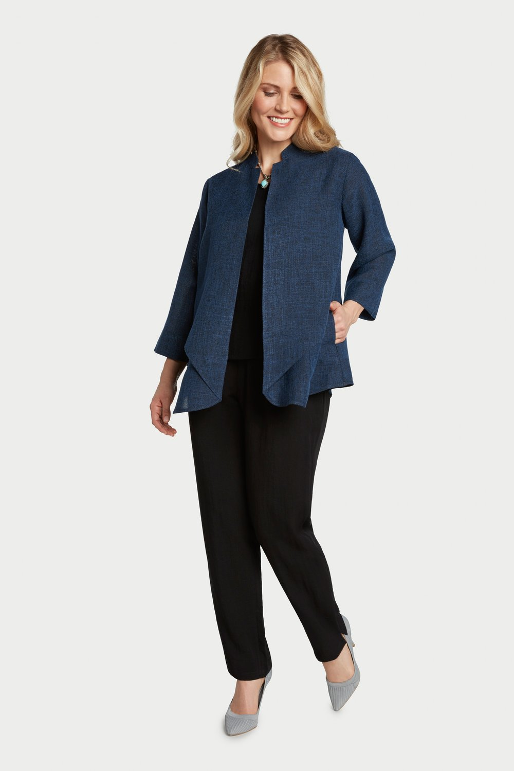 AA7137 - Waterfall Jacket Black/Navy Heathered - JC29