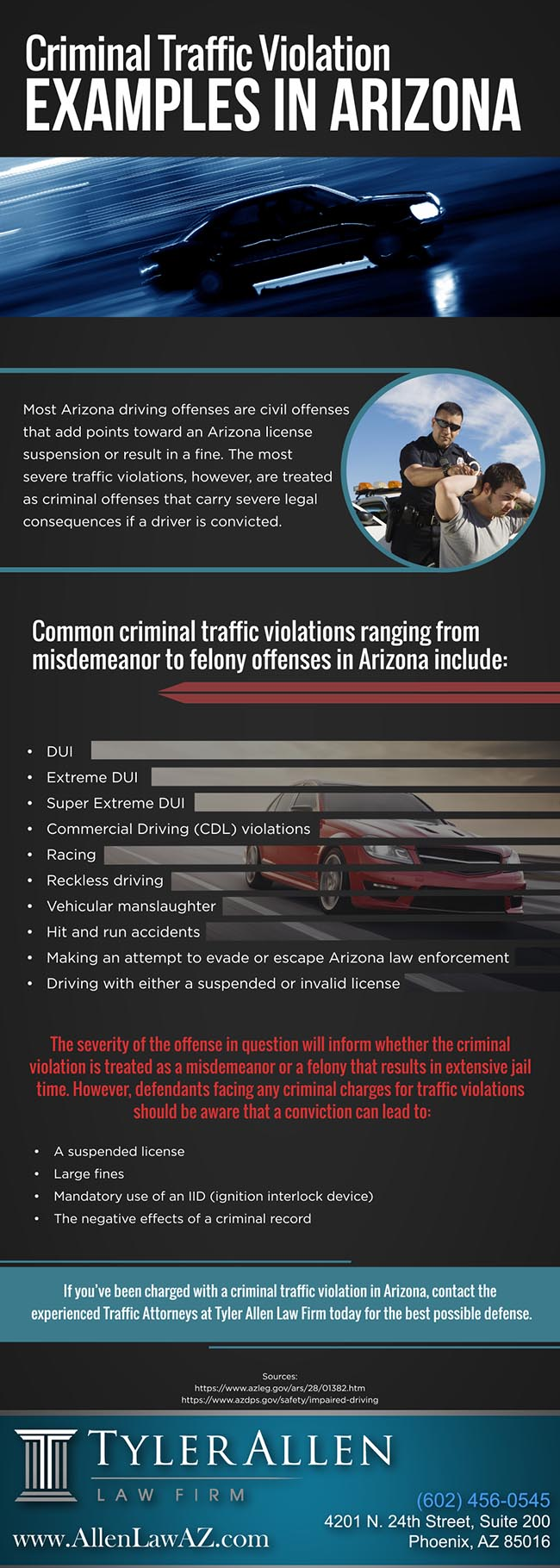 Criminal Traffic Violation Examples in Arizona