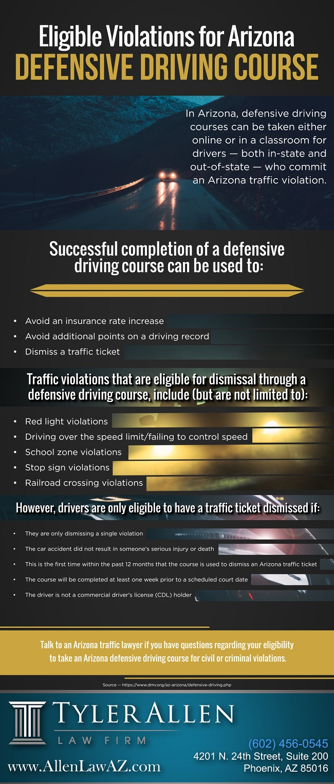 Eligible Violations for Arizona Defensive Driving Course