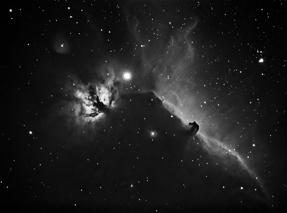 Horsehead and flame nebula taken a few nights ago with modified Canon 760D 12nm Ha filter Explore Scientific CF127 with 0.7 focal reducer on modded Neq6 mount. 18 x 340s at ISO 1600 no guiding  Image by   Andy Smith Astronomy