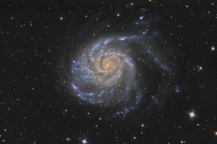 M101 Imaged at F6.7 using a 17″ iDK Astrograph Courtesy of Dan W., Oklahoma