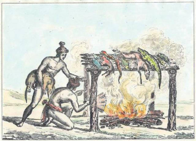 The word barbecue comes from the language of a Caribbean Indian tribe called the Taino. Their word for grilling on a raised wooden grate is barbacoa. The word first appeared in print in a Spanish explorer's account of the West Indies in 1526, according to Planet Barbecue. - barbacoa?