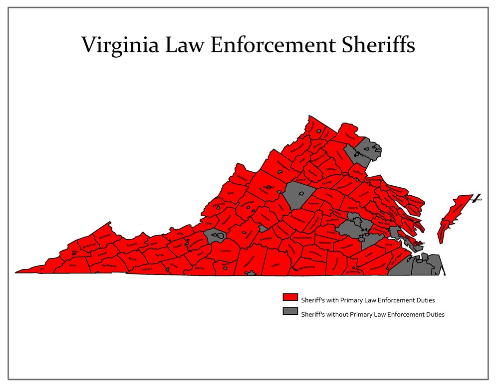 86 of Virginia's 123 Sheriffs are responsible for primary law enforcement in their jurisdictions. These services are provided 24 hours a day, and 7 days week.