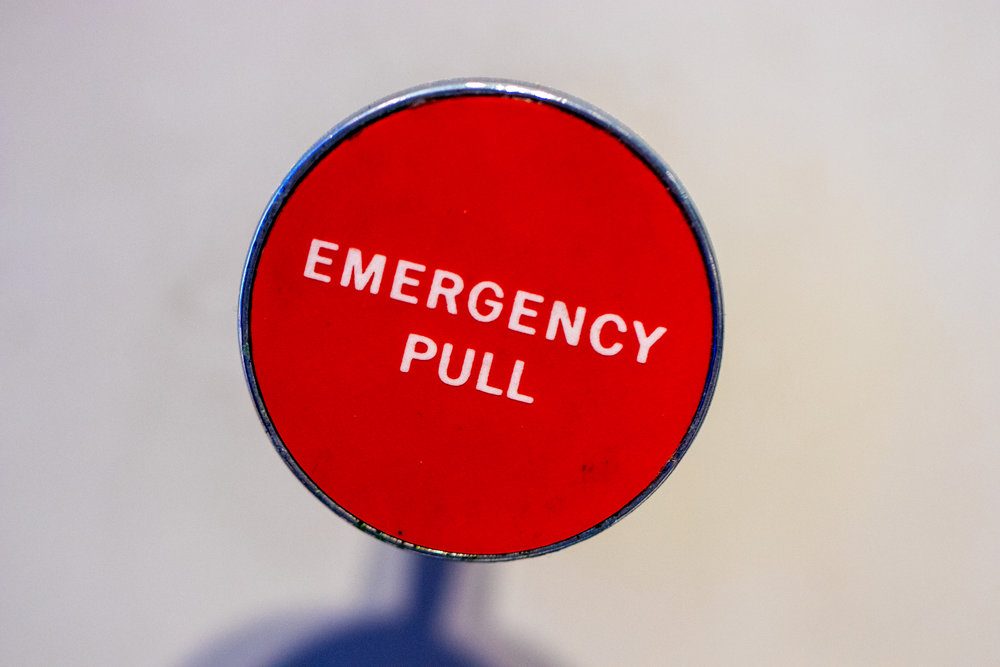 Emergency pull lever.
