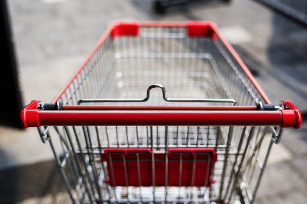 A grocery store cart.