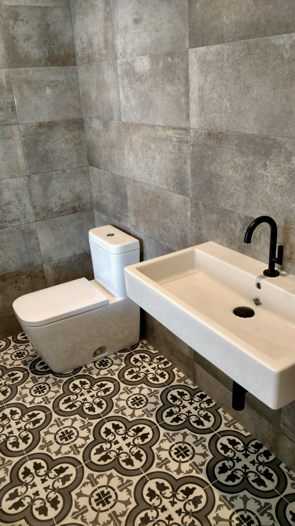 cement tile floors with concrete look wall tile