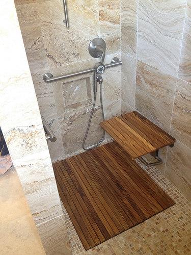 custom shower, teak seat and drain cover.jpg