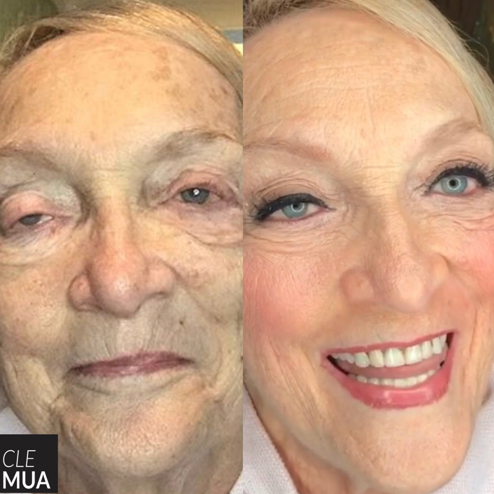She had never had her makeup professionally done before and wanted to go all out for her grandson's wedding. We used a traditional foundation ...