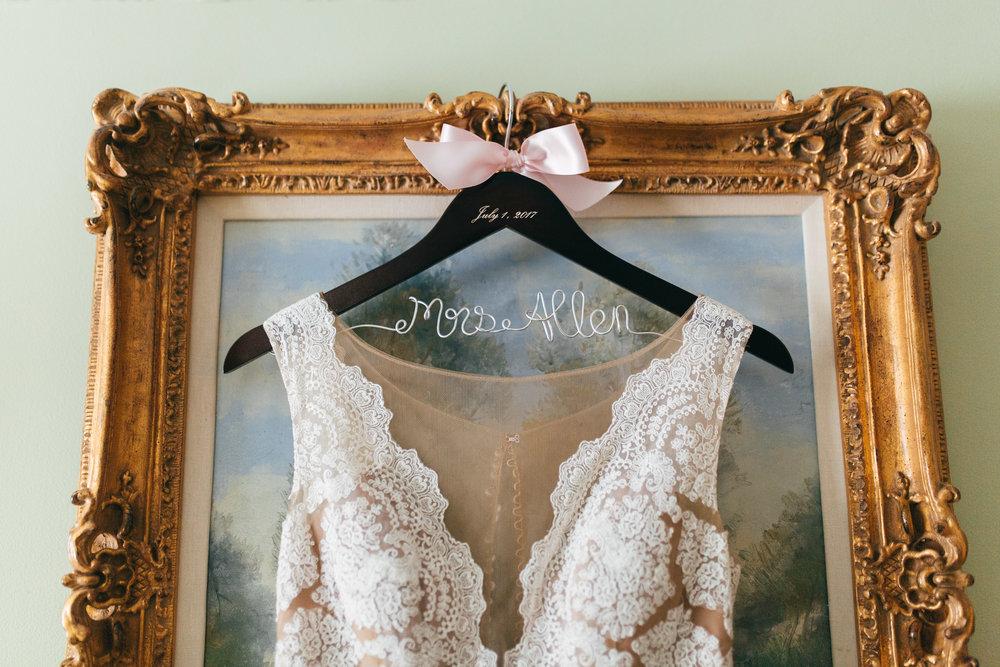 Cleveland Wedding Planner Modern Vintage Garden Wedding Gown and Custom Hanger .jpg