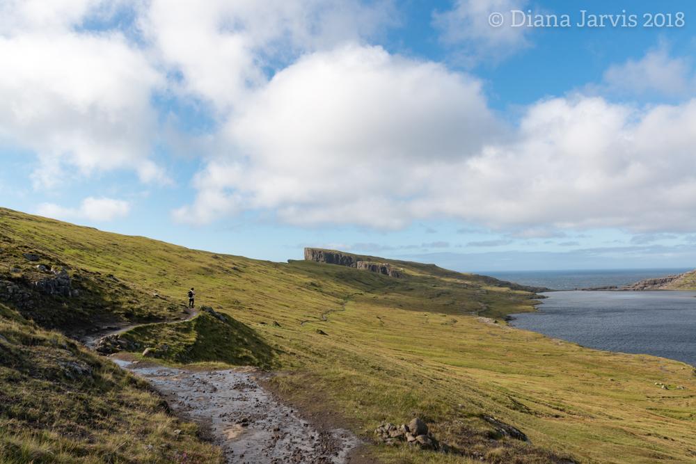 The Traelanipa hiking trail along lake Sorvagsvatn