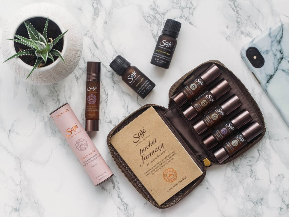 Saje Wellness - We carry with us our handy pocket size farmacy with our favorite essential oil blends to get us through the day. Check out their number one best seller Peppermint Halo—a refreshingly cool and invigorating blend of peppermint, lavender and rosemary to support your wellness.