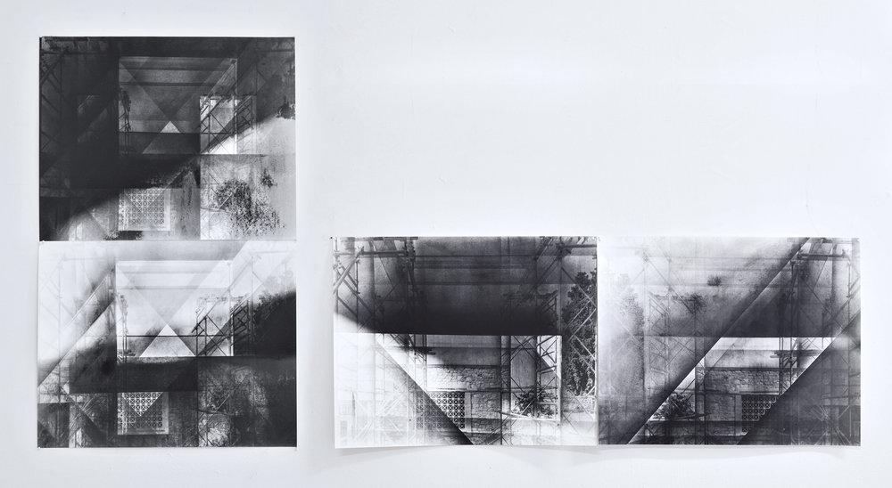 "Scaffold , series of ten 16"" x 20"" silver gelatin photographs on matte fiber paper. Each photo captures a different stage of one drawing made overtop of an existing photograph. 2013"