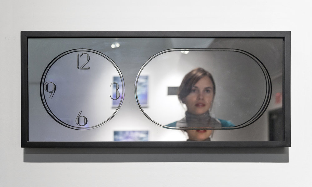 """Second Minute,  14"""" x 28"""", Repurposed clock fitted with double mirrors, wood, mirror, paint, 2012"""