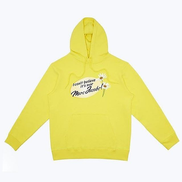 """The fashion industry today interacts with the bootleg market in a variety of different ways.  For example, Marc Jacobs (@marcjacobs) collaborated with Ava Nirui (@avanope) on a collection of """"official bootlegs"""" after the latter became an Instagram sensation for putting D.I.Y. spins on designer labels. This hoodie, from the second Marc Jacobs x Ava Nirui collaboration, is a part of co-curator Kerstin Heitzke's (@kheitzke) case study for """"Gray Area: Authenticity, Value, and Subversion in Fashion""""  Image: I Can't Believe It's Not Marc Jacobs hoodie. Image courtesy of @marcjacobs"""