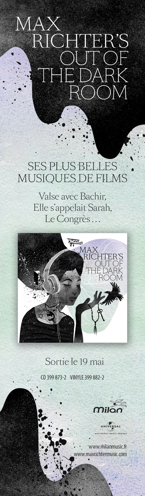 Max Richter's out of the dark room - Album release advertisement for Éditions Milan Music for a French music magazine in 2017.