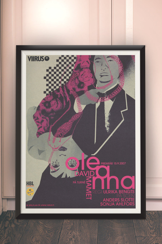 Oleanna. Viirus. Tour play 2007. Main roles Anders Slotte and Sonja Ahlfors. Script David Mamet. Direction Ulrika Bengts.