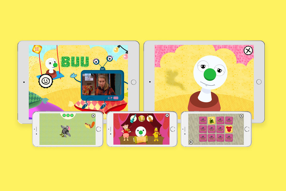 Buu-klubben app is made for phone and tablet. Video is streamed from  Yle Areena. The app contains a main playground and several mini games.