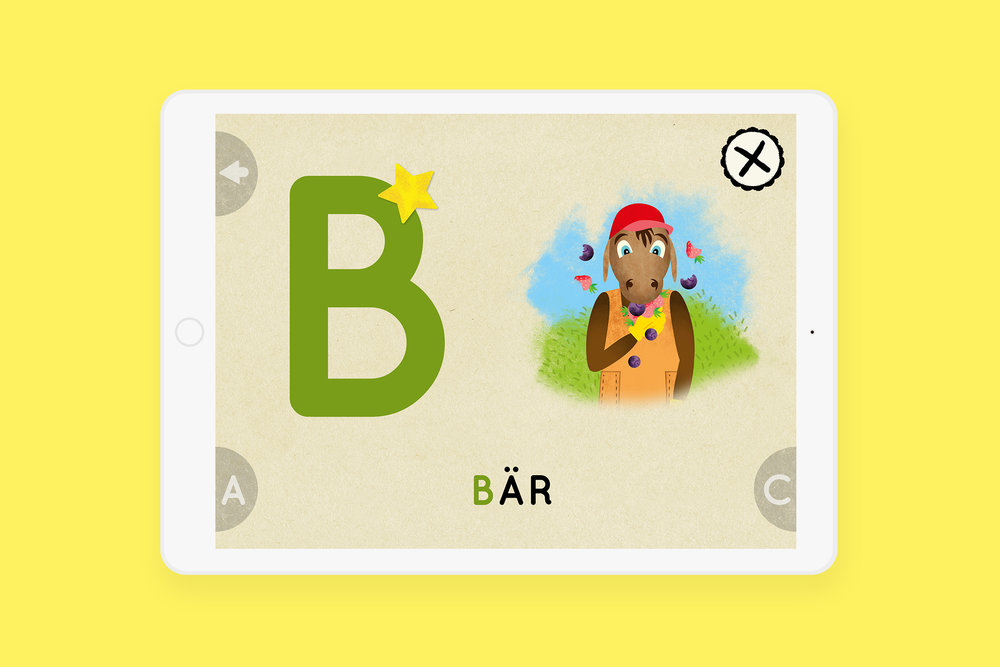 Bärtil's Writing Game. Well done! A star to mark that you know it already. Sketch for the UI.