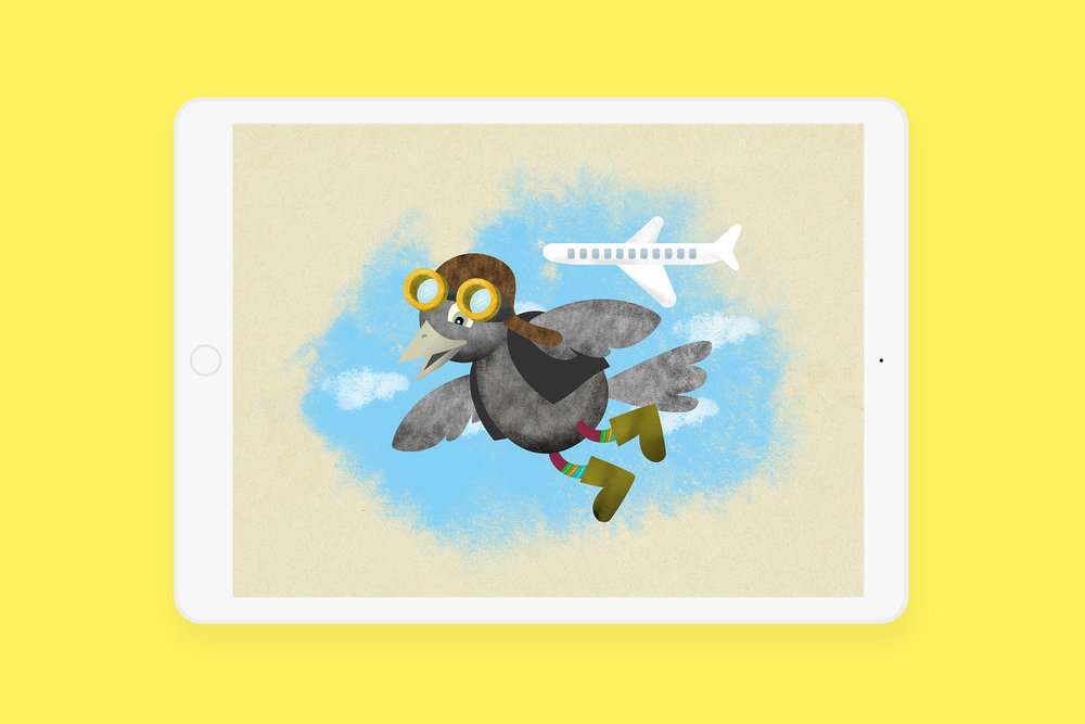 Animation scenes for Bärtil's writing game. The animation and poem is a reward from knowing how to write the letter. I draw 29 animation scenes, one for each letter. Kapu Toys made the animations. Monica Vikström-Jokela wrote the poems. Here is Krak-Fia trying to beat the airplane.