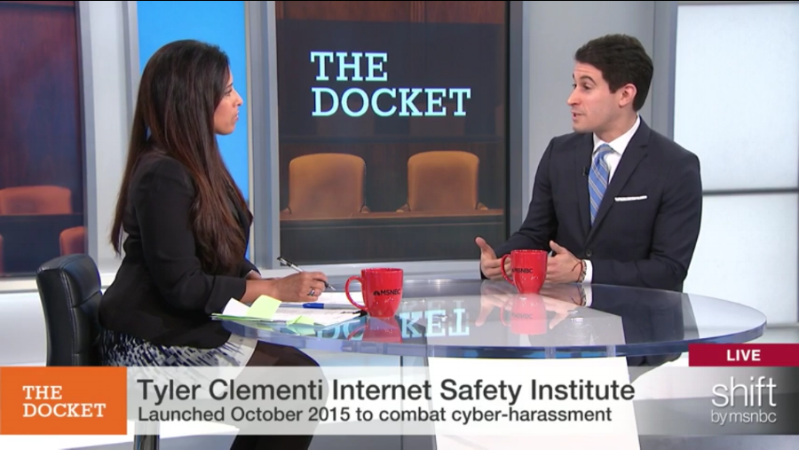 "MSNBC's ""The Docket"", November 13, 2015   Along with Seema Iyer, I discussed the epidemic of cyberharassment and the new Institute for CyberSafety, which includes the first and online law school clinic providing free counsel to victims of online harassment."
