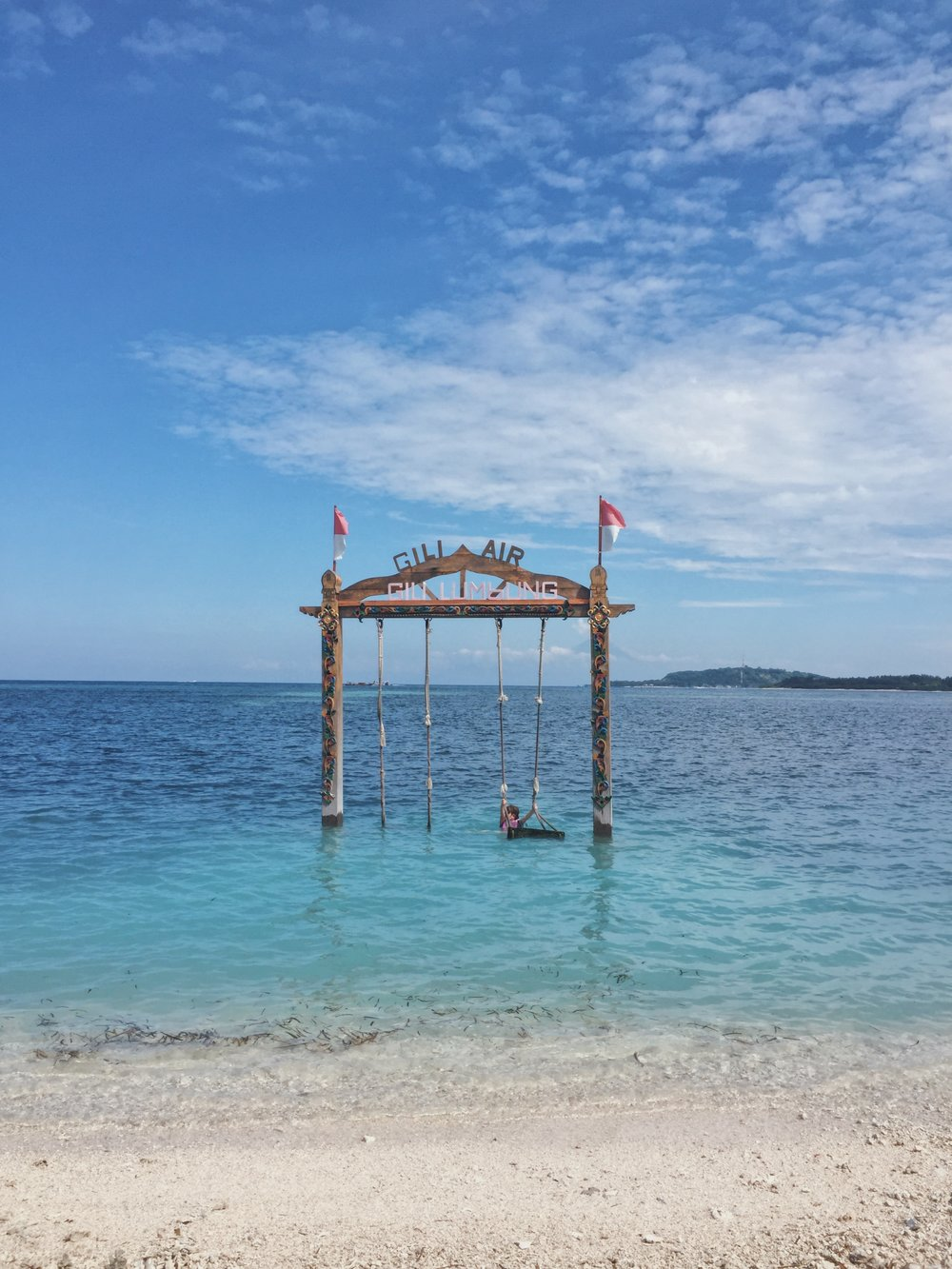 The infamous swing in front of  Gili Lumbung.