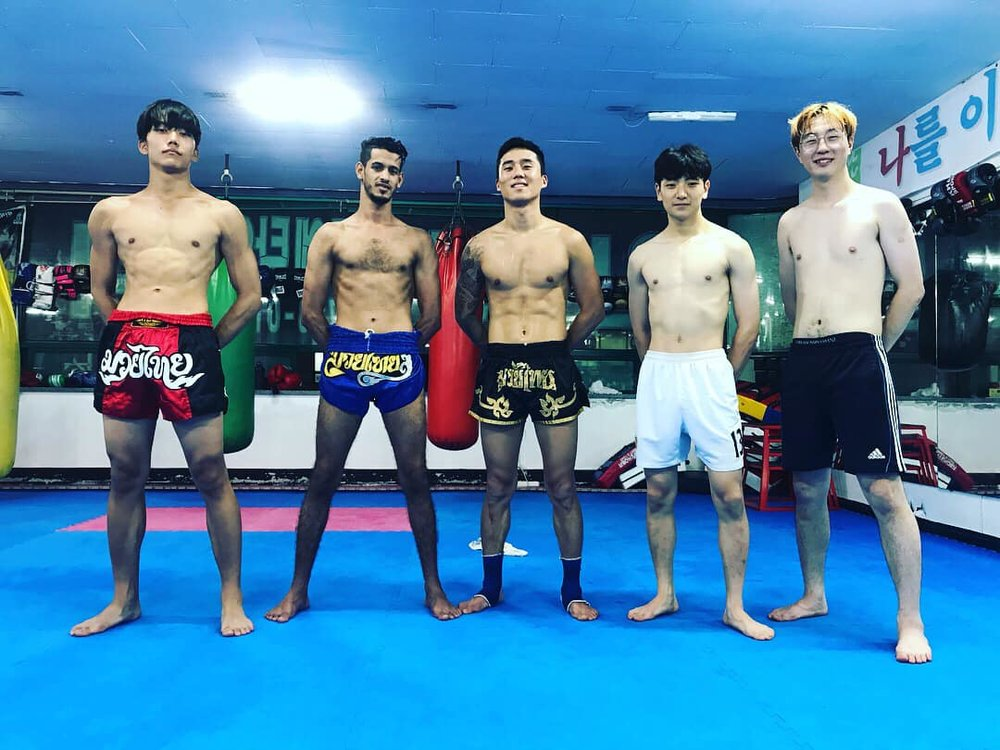Ahmed and some of his fellow kick-boxers on Jeju.