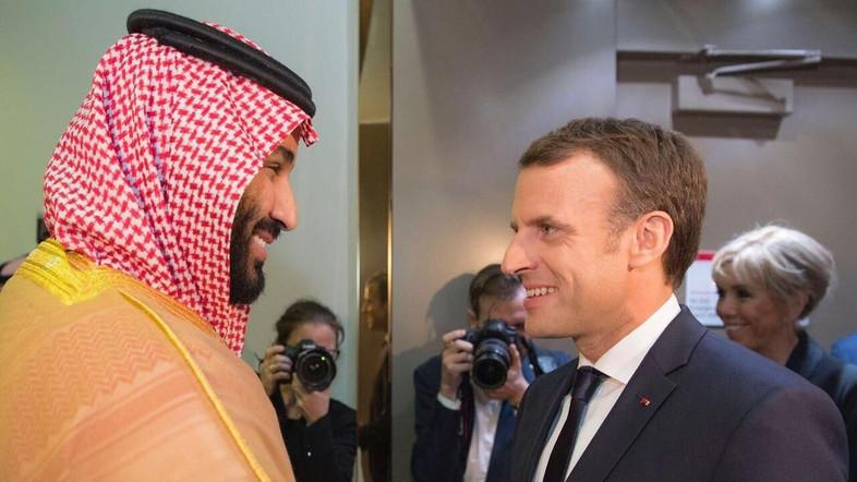 President Macron meets Crown Prince Mohammed Bin Salman. (SPA)