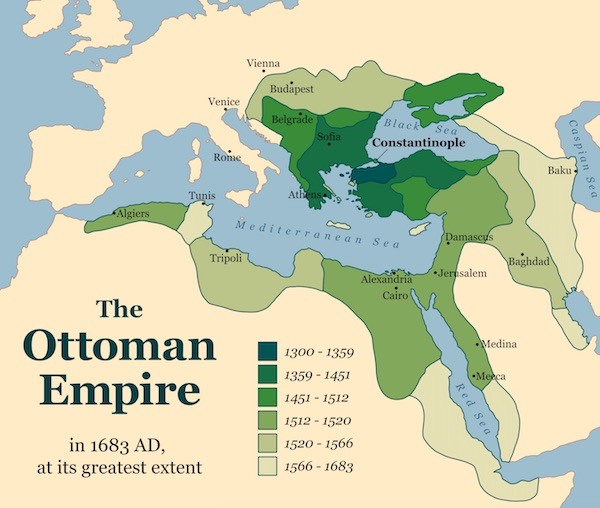 Historical map of the Ottoman Empire.