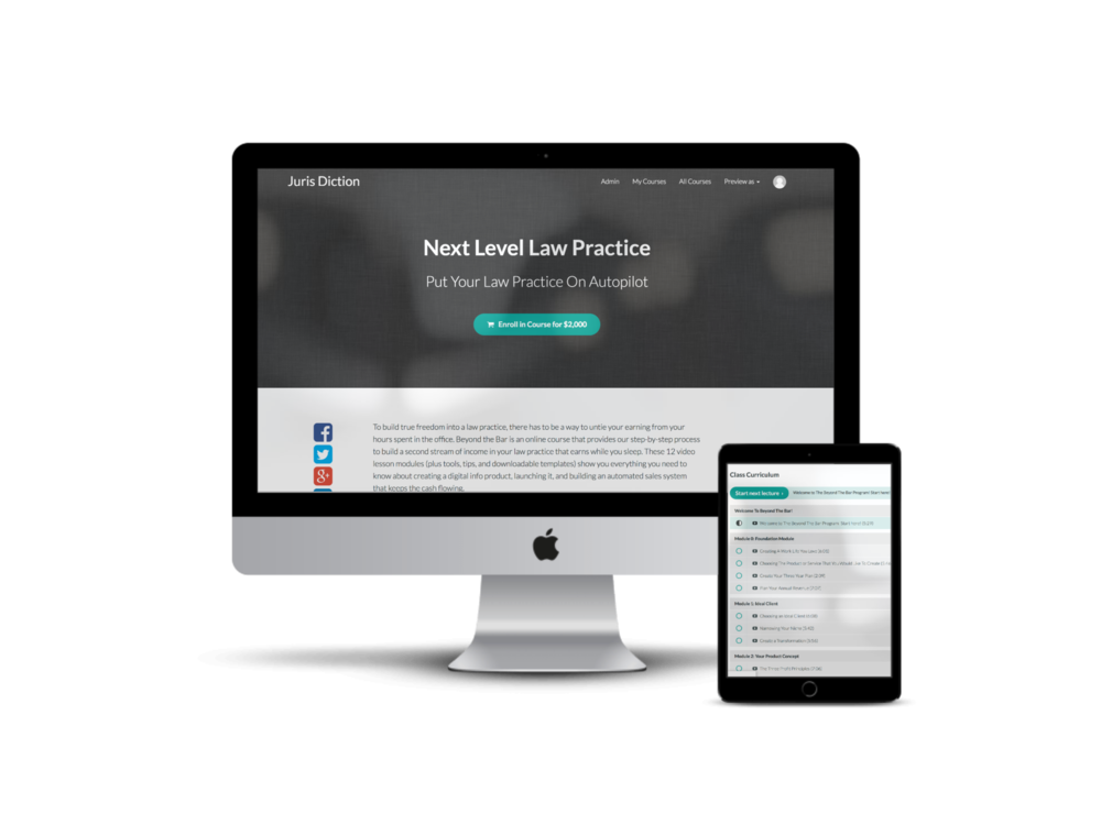Next Level Law Practice - Coming January 2019! - NLLP is all about creating a Sustainable Law Practice. We teach you how to create super systems that automate up to 80% of your practice, giving you more time to do the work you love. Over 12 video modules (including valuable workbooks, spreadsheets, and tools), create a streamlined practice that runs smoothly, efficiently, and — most importantly — profitably.