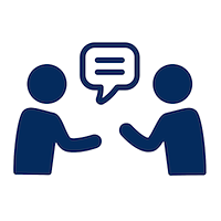 Navy blue icon of two people in conversation.png