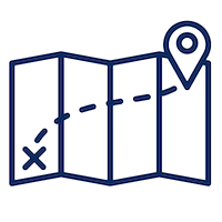 Navy blue icon of unfolded map with a destination marked.png