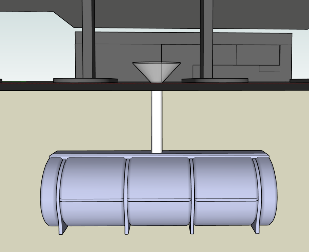 Drawing of funnel and petrol tank, 2018.