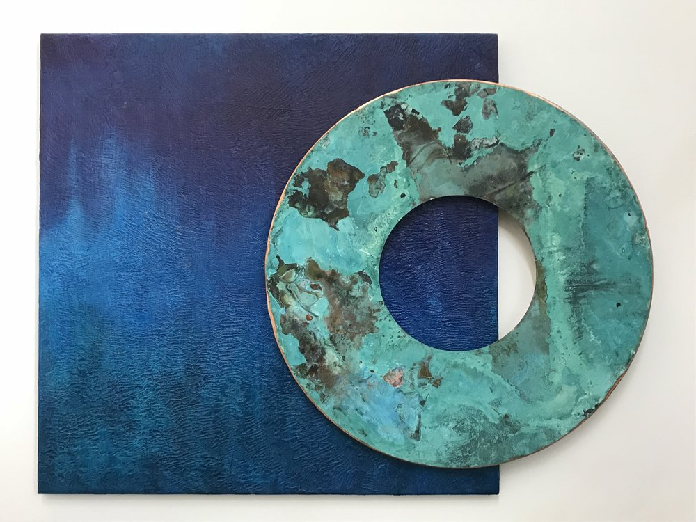 Lifering 24x34 in.; 61x86 cm.; 2 pieces; acrylic, steel, anodized copper; 2018