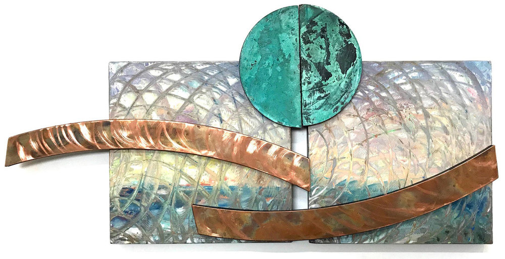 River Rainbow 40x28 in.; 101.5x71 cm.; 6 pieces; steel, encaustic, anodized copper; 2018