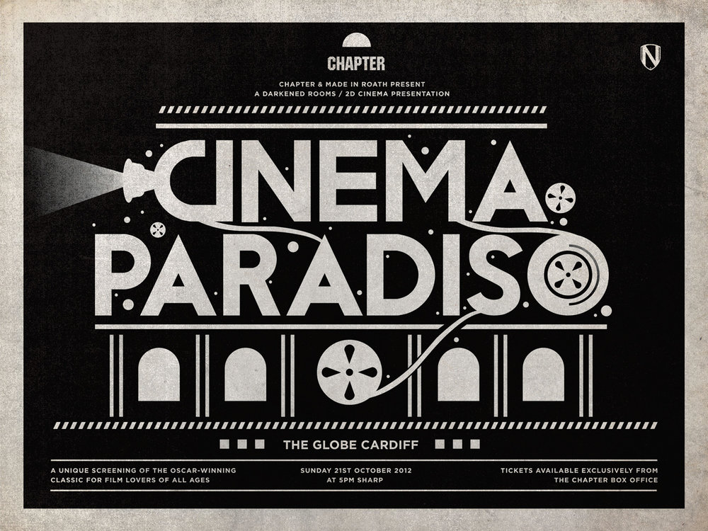 CINEMA PARADISO at THE GLOBE ~ Sunday 21st October 2012   * * * Doors / programme: 4:30pm ~ Feature: 5pm sharp * * *    Winner of the Oscar for Best Foreign Language Film, this beloved classic is one of the great movies about moviegoing, telling the story of a young boy's discovery of cinema in post-war Sicily, and we'll be showing it in The Globe, a former cinema itself, as part of the Made in Roath festival. Click  here  to buy tickets!