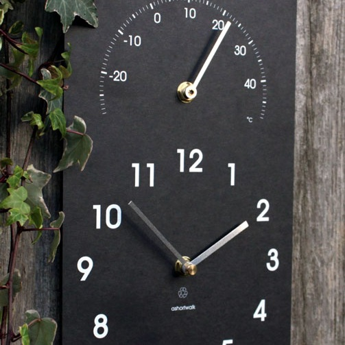 Recycled Clock with Thermometer - riverOcean