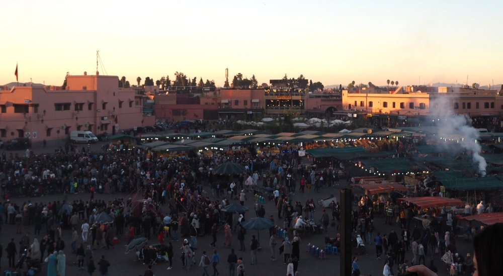 chaotic, touristy, unforgettable jemaa el-fna - its expansiveness is hard to capture in one picture