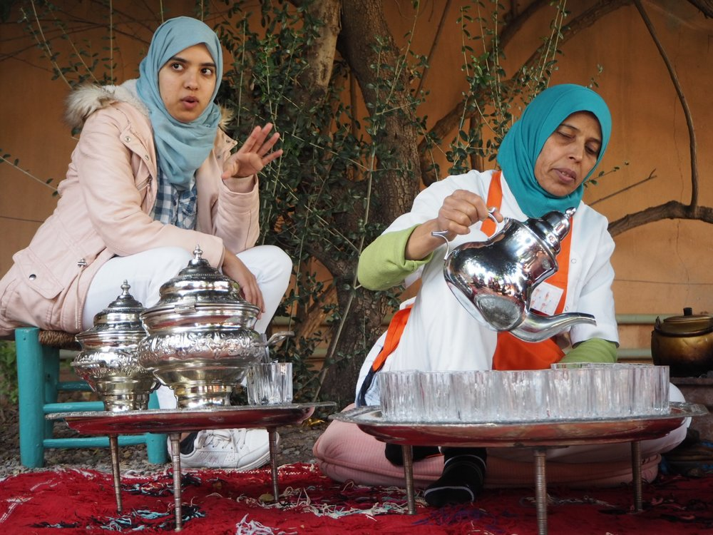 the lovely women of amal - Fatima Zahra talks about their work while our chef fatiha prepares traditional Mint tea aka berber whisky