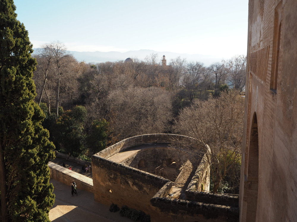 views from above Puerta de la justicia towards the sierra Nevada mountains.