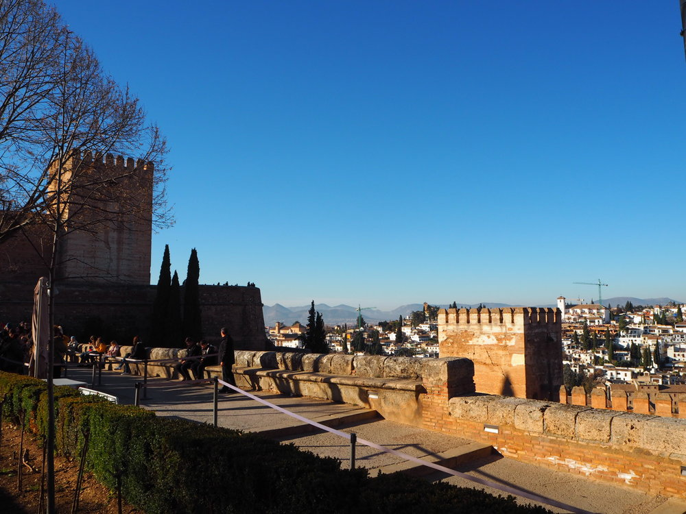 views of the alcazaba, from the Arabic al-qasbah meaning 'walled fortification' in a city, and beyond.