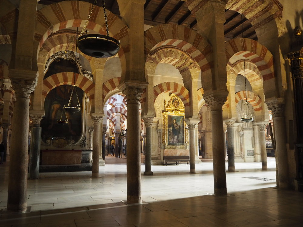 the mezquita of Cordoba is one of the most impressive buildings I've ever visited. started as the great mosque of Cordoba, the building has been expanded several times and now houses the splendid cathedral of our lady of assumption in the middle.