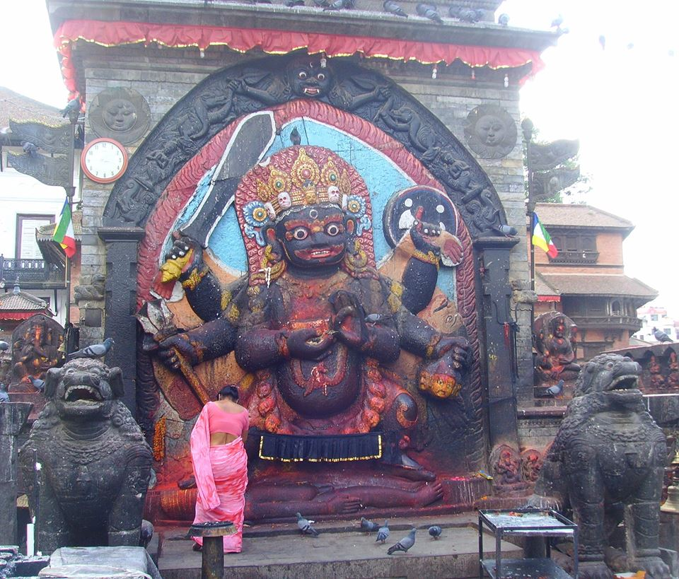 Nepal, Durbar Square - February 7, 2019   Kali the Dark Mother. The goddess of creation and destruction. As fearsome as she may appear she is the most compassionate goddess of the Hindu pantheon.