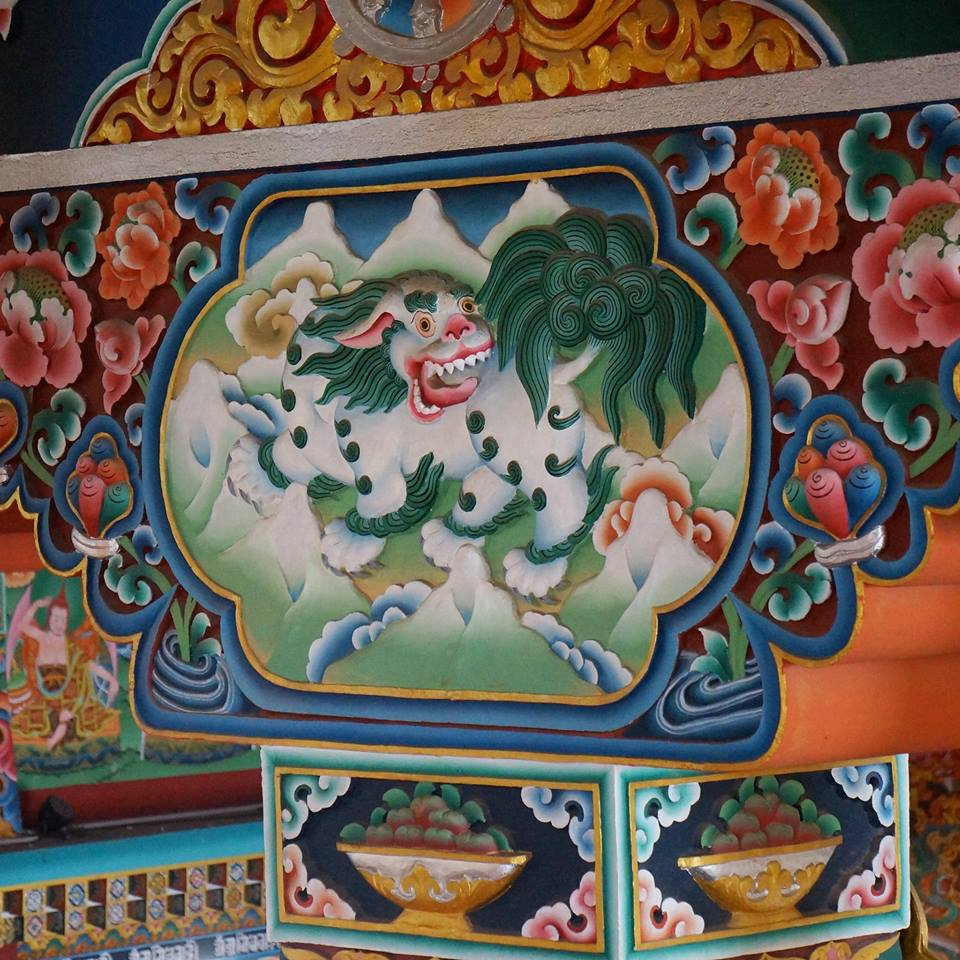 Nepal, Kathmandu - February 21st, 2019   A Snow Lion, the mythical creature that guides the seeker towards wholeness (Tibetan Buddhism temple art)