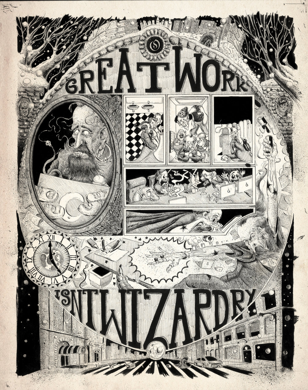 Wizardry: Ben Klein     https://www.benkleinart.com/      https://www.instagram.com/benkleinart/     Ben Klein, a Luxembourg native and San Francisco Academy of Art graduate, gets really detailed. No really, down to an atomic level. This freelance illustrator and story artist takes a magnifying glass to the mundane with his rousing and gritty ink illustrations. In every corner of his work, you'll find whispers of information that quite literally paint the picture. He has mastered blending whimsy and darkness to create distorted art that is just the right amount of unsettling. His poster for Odysseus Arms is proof that great work truly does lie in the details. Not in spells, potions or wizardry as Ben's work might actually lead you to believe.
