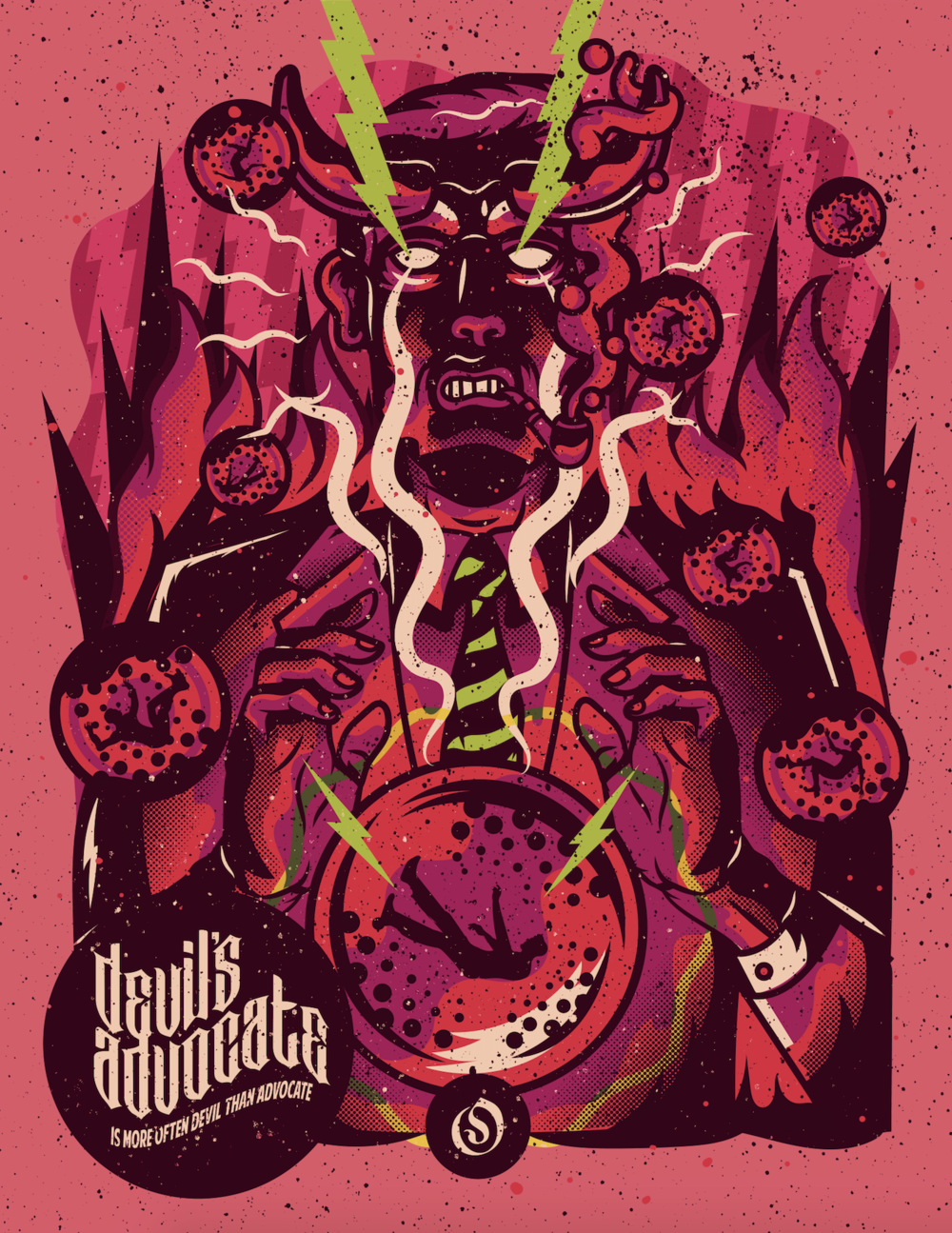 Devil's Advocate: Diego Portilla     https://www.behance.net/eslaquer    Diego Portilla is a Colombian illustrator who puts old movie poster and comic art into a bullet blender to serve up bright and creepy illustrations. His high-octane work is reminiscent of the golden age of poster art, and he's quite possibly ushering us into the renaissance of it all. In this poster for Odysseus Arms Diego portrays We wanted to embolden creatives and encourage them to just go and make the thing. Paint the stuff. Write that doohickey. Because if you listen to the worriers of the world, you'll never make anything cool.