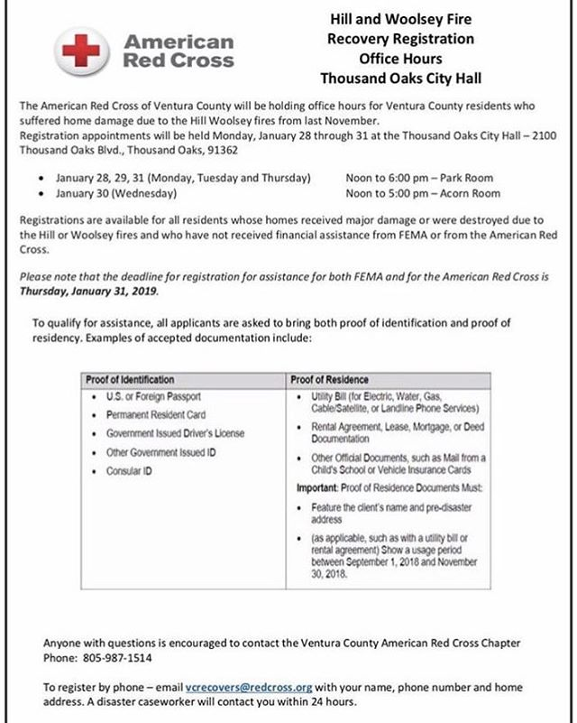 https://www.redcross.org/about-us/our-work/disaster-relief/Appointments for registration assistance from the American Red Cross are available through Thursday. wildfire-relief/2018-california-wildfires-relief-information/immediate-assistance-program.html #woolseyfire #hillfire #wildfirerelief