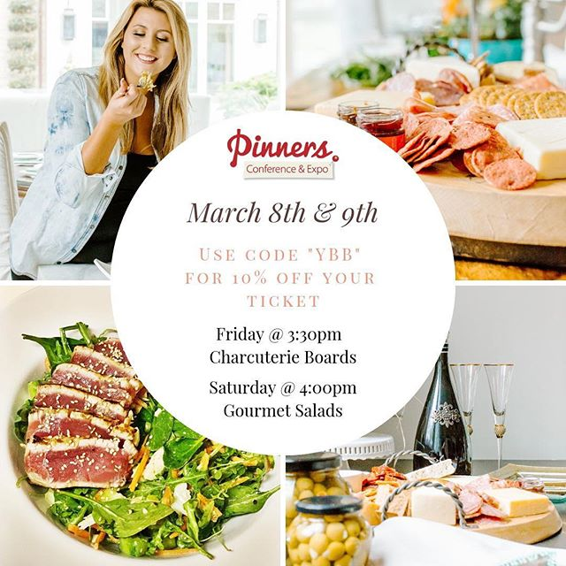 """@pinnersconf is this week! make sure you snag a ticket for this amazing event! come check out my classes on Friday & Saturday & don't forget 10% off your ticket with the code """"YBB"""" . . Link in bio for all the deets!"""