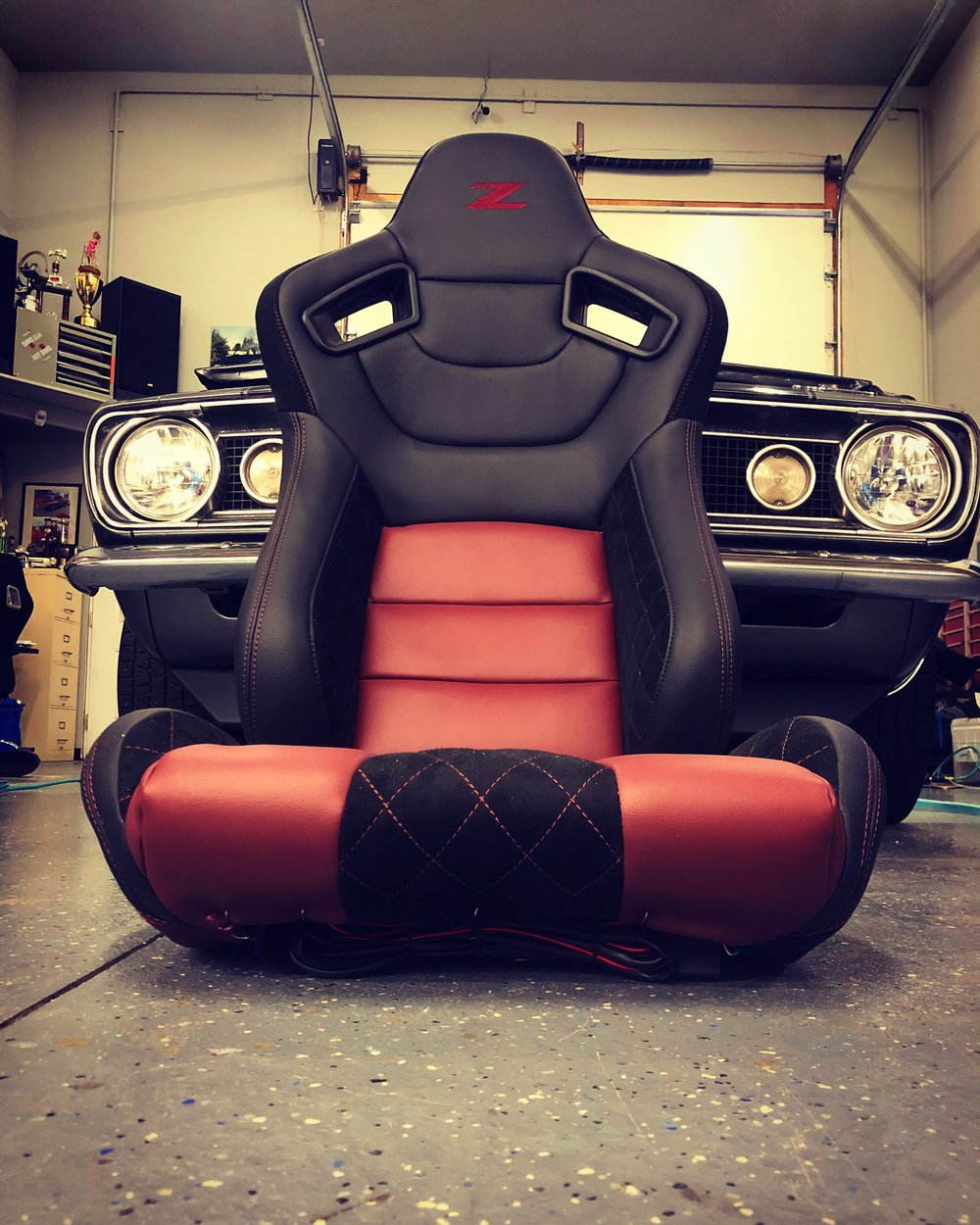 Customize your seats with  a seat kit or through our custom upholstery services.  Red and black leather with  black high end microsuede and red diamond stitching.