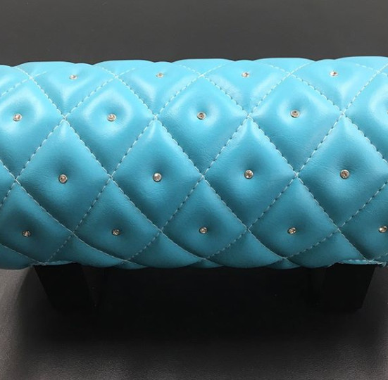 A Tiffany's dream come true. Custom baby blue tank wrap with diamond stitching and beveled gems.