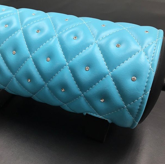 Custom baby blue tank wrap -diamond stitched with diamond  center.